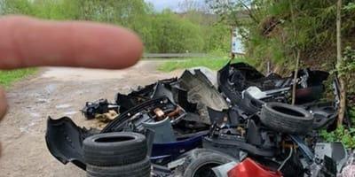 Podhale: widzi stertę opon na poboczu drogi. Kiedy podchodzi bliżej, pęka mu serce