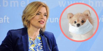 Julia Klöckner und ein Hund mit Maske