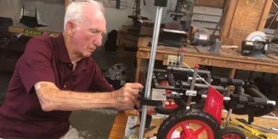 dr weterynarii pracuje nad wóżkiem inwalidzkim