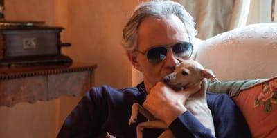 Andrea Bocelli e il suo cane Pallina