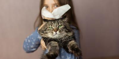 nina con gato como combatir la alergia