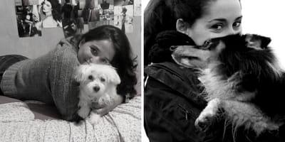 due ragazze abbracciano i loro cani