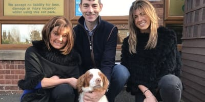 Family shot with Bonnie, the lost spaniel