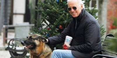 Joe Biden with dog Major