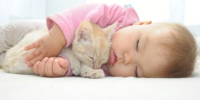 Baby sleeping with a kitten in its arms