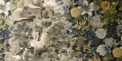 Gato camuflado en arbol de navidad