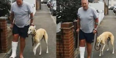 Mężczyzna z nogą w gipsie i z psem.