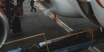 Bagaże wyjeżdżające na taśmie z luku bagażowego.