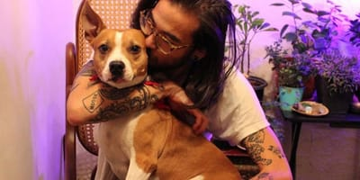 Tattooed man hugs Pitbull