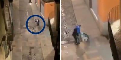 hombre pega latigazos perro calle girona