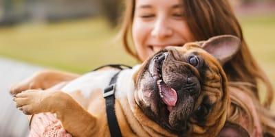 mujer cargando perro pequeño y gordo