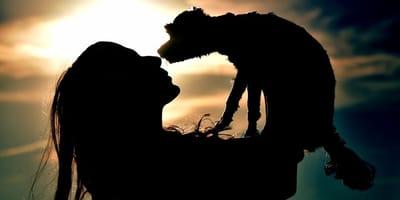 cane e padrona al tramonto