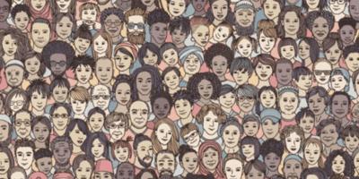 Cartoon of a cat face among human faces