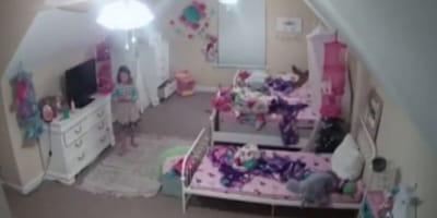 Prende la luz del cuarto y descubre que su hija no está sola (Video)