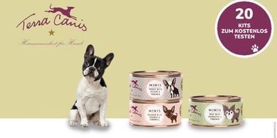 Testen Sie kostenlos die MINI-Menüs von Terra Canis für Ihren Hund!