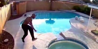 Er hört ein dumpfes Geräusch im Pool und kann die Katastrophe gerade noch verhindern