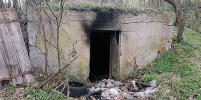 In dem Keller brach das Feuer aus.