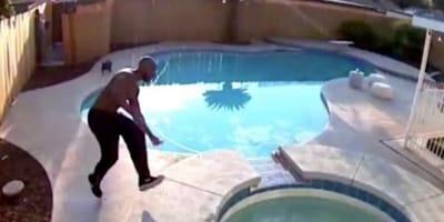 Siedział nad basenem, kiedy usłyszał głośne chlupnięcie. Za kilka sekund doszłoby do dramatu (VIDEO)