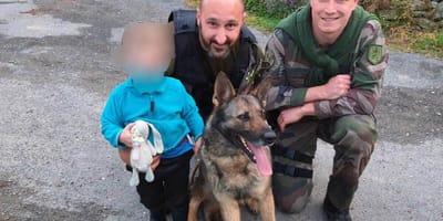 perro policia pastor aleman rescata nino perdido francia