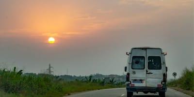 Van-Fahrer drückt SOFORT auf die Bremse, als er merkt, wer da die Straße überquert!