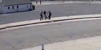 Cámara de seguridad graba a dos personas agrediendo a una mujer y robándole a su perro
