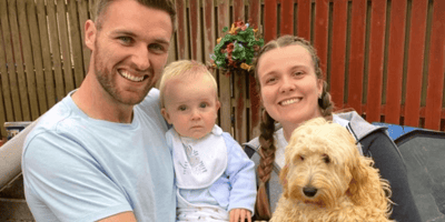 stephen odonnell with family and poodle cross