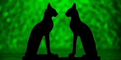 Schaduw van Egyptische kattenbeeldjes