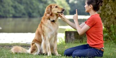 Donna che addestra un cane al parco