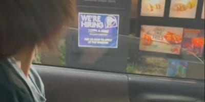 Al fast-food: vede un'ombra e si precipita nel parcheggio! (Video)
