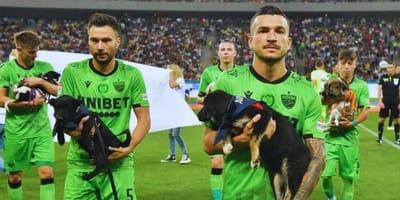Romania, calciatori in campo con cuccioli in braccio per un nobile motivo